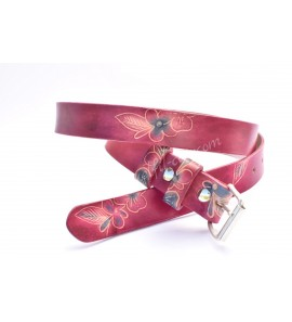Leather belt flowers pattern